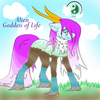 Custom Alien Goddess of Life with background by Darumemay