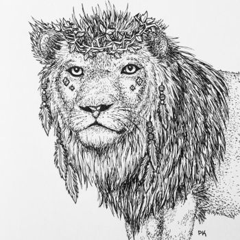 Lion of the Wilderness // pen sketch by MajesticPaula
