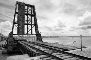 Railroad Draw Bridge - 20130526 - 00023 - B and W by TomFawls