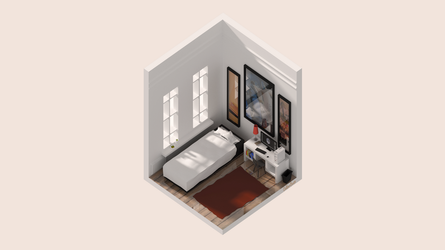 BLENDER: Isometric Bedroom by caliberbeats
