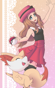 Serena and Fennekin by shroomsiee