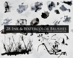 28 Ink and Watercolor Brushes by soulspoison