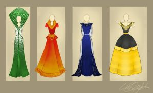 Hogwarts House Gowns by ContntlBreakfst