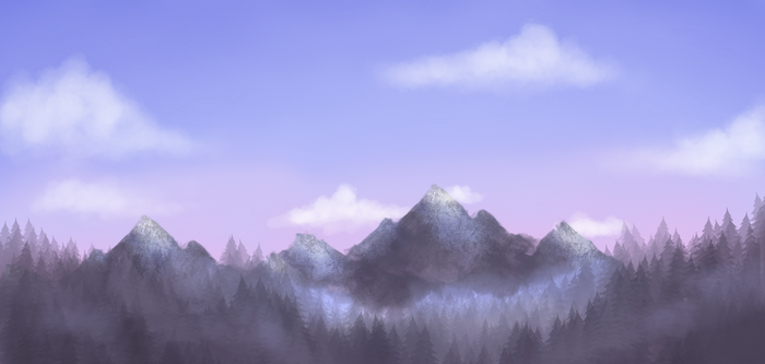 Mountans in the woods by Ritter-draws