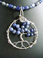 Sodalite and silver round leaf tree in circle by BacktoEarthCreations