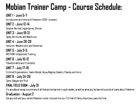 Mobian Trainer Camp Schedule by TheN1K0L4Z