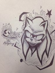 A Sonic drawing on the back of my math notebook by Sonjamsn40