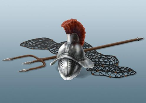 DSA: Gladiator's Helmet and Weapons by miss-hena