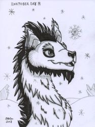 Inktober Day 14 - Arctic Dragon by Creative-Dreamr