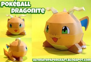Pokeball Dragonite Papercraft by squeezycheesecake
