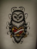 Owl Drawing heart by FraH
