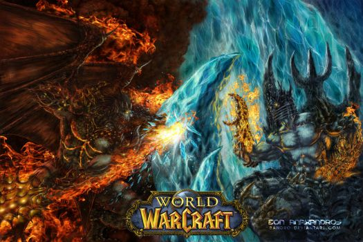 Blizzard Warcraft: Deathwing vs lichking by bandro