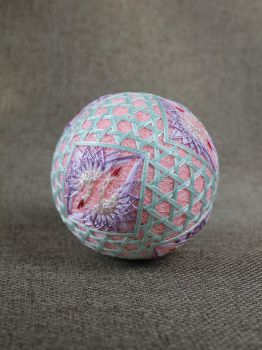 Temari ball 31 - Wedding in mint and pink colors by Bussardelka
