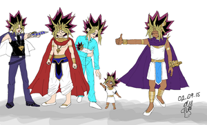 The Various Outfits of Yami Yugi/Atem Pt II by dm17fox