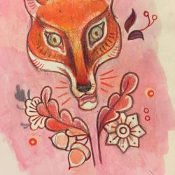 Pink Fox Pattern Design by miorats