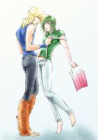 Hyoga pulled Shun's by the suspenders by kazuki3