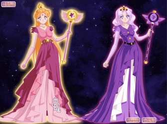 Queens of Mewni Asteria and Etheria by Nightofstarryskies10