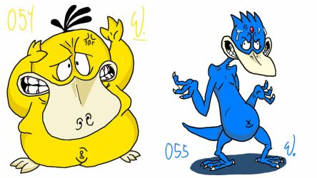 054 Psyduck 055 Golduck by twitchSKETCH