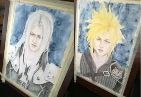 Sephiroth and Cloud by cathrine6mirror