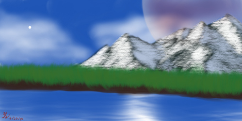 Bob Ross inspired painting by Allduin99