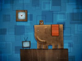Square Elephant by vladstudio