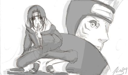 Itachi and Kisame Sketch by theALMs