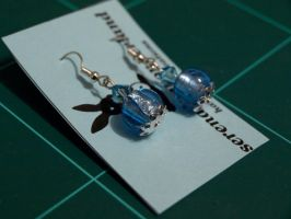 Glittery blue earrings by serenainwonderland