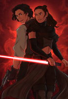 Dark!Rey and Smuggler!Ben by volson