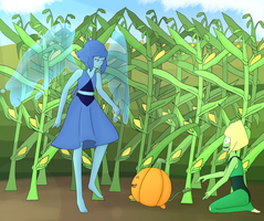 Lapis, Peridot and the Pumpkindog by Paralysa