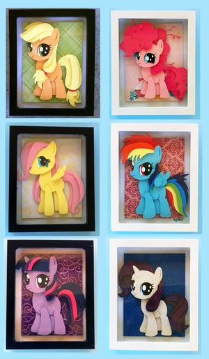 Shadowboxes: Filly Mane 6 (8x10) by The-Paper-Pony