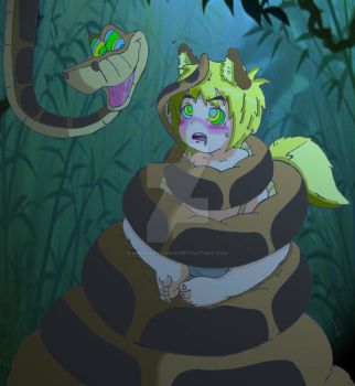 Coils and Hypnosis: Kaa and 'Lil Neko (2) by KnightRayjack