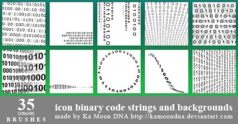 35 Icon Binary Code Strings And Background Brushes by KaMoonDNA