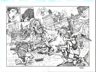 Ninja Turtles Double Page Spread by interstateninja