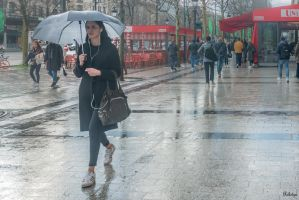 Paris the city of lights - one umbrella on champs by Rikitza