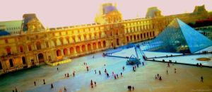 Facing the Louvre Pyramids - Tiltshift Effect by Cloudwhisperer67