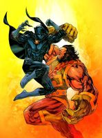 Black Panther vs Kalibak - Jean-Francois Beaulieu by SpiderGuile