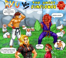 Ryu vs the Angry Sunflower by Ryoga-rg