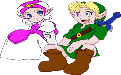 Link and Zelda transparent by TheDarkestKey