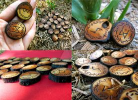 Black Cherry Wood Fall Runes by ValkyrieOfODIN