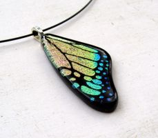Fused Glass Butterfly Wing Pink Shift Necklace by FusedElegance