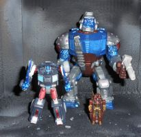 PRETENDER OPTIMUS PRIMAL WITH TARGETMASTER AIRAZOR by GRIMLOCKPRIME108