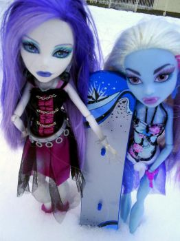 Spectra and Abbey in winter by clawdeenw