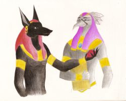 Anubis and Thoth by Aryang