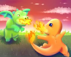 Baby Dragon VS Charmander by Wolflover1086
