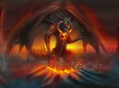 Terathan Daemon rising from depths of hell by ebizcraftsman