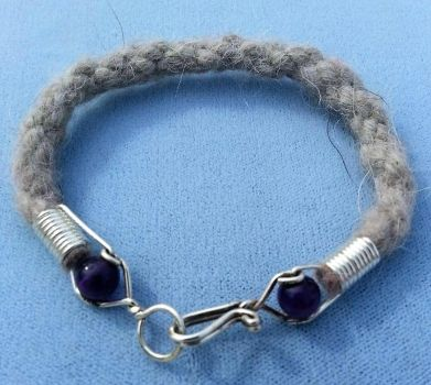 Arctic Wolf and Amethyst Bracelet by Wolf-of-Samhain