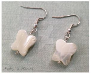 Shell Butterfly Earrings by WhiteMagicPriestess