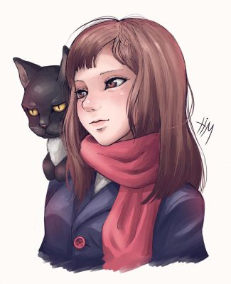 Girl Portrait Drawing - Black Cat by TimCats