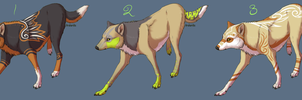 Wolf Adoptables 3 CLOSED by Xeshaire