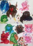 some colorful monstergals by JustMiri